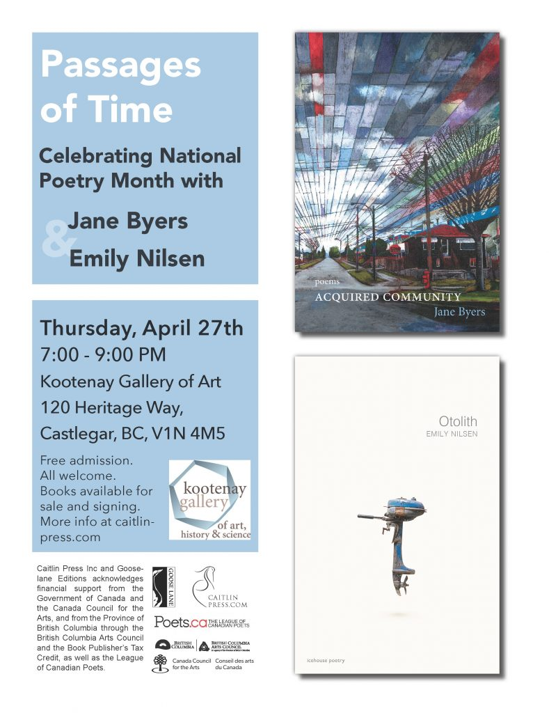 Passages of Time - Poetry Reading @ Kootenay Gallery of Art | Castlegar | British Columbia | Canada